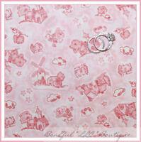 BonEful Fabric FQ Cotton Pink Cream Baby Girl Windmill Flower Nursery Toile VTG