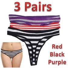 3 x Ladies Thong Knickers Briefs Thongs Sizes 12 14 16 Striped Red Black Purple