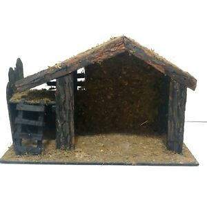 Vintage Handcrafted Wood Creche Manger Stable for Christmas Nativity