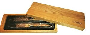 LAGUIOLE EN AUBRAC, SET OF 2, SS STEAK KNIVES, OLIVE WOOD HANDLES, NEW IN BOX