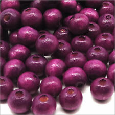 Lot of 100 Wooden round Beads 8mm Purple Plum