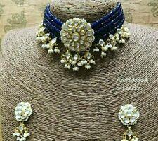Bollywood Gold Plated Jewelry Indian Pachi Kundan Polki Blue Bridal Necklace Set