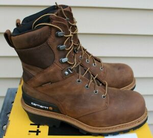 """Carhartt Mens 8"""" W/P Brown Leather Composite Toe Logger Boots 10W -NIB - CML8360"""