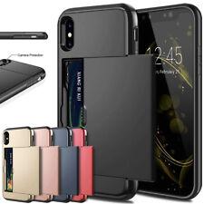 Shockproof Slide Slim Sleek Case w ID Credit Card Holder For iPhone X 8 7 6 5SE