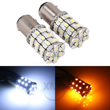 2x 1157 Dual Color 60 SMD LED Turn Signal Amber & White Switchback Light Bulbs