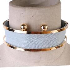 "13"" gold light blue jean denim choker collar bib necklace earrings 11"