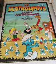 CINEMA AFFICHE DESSIN ANIME LES SCHTROUMPFS LA FLUTE A 6 SCHTROUMPFS PEYO 1975