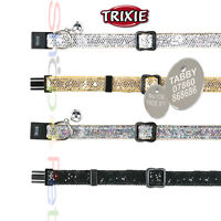 TRIXIE DELUXE REFLECTIVE GLITTER CAT COLLAR With or Without  ENGRAVED PET ID TAG