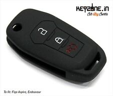 Keyzone silicone key cover black fit for Ford Figo Aspire / Endeavour flip key