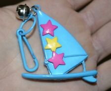 Vintage 80's Plastic Charm Bell Clip Charms Wind Surfing Surfboard Sailboat Blue