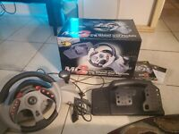 MAD CATZ MC2 Racing Wheel and Pedals for PlayStation PS1 w/ box & manuals TESTED