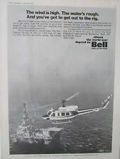 9/1973 PUB BELL HELICOPTER TEXTRON BELL 212 OFFSHORE OIL ORIGINAL AD