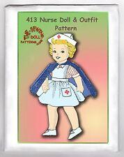 "413 Nurse Rag Cloth Girl Doll pattern & Uniform 15"" vintage"