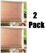 "(2) Lewis Hyman 0321256  60"" x 72""  Woodgrain .25 Oval PVC Roll Up Patio Blinds"