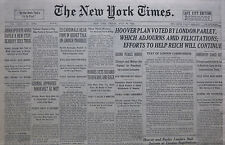 7-1931 JULY 24 HAWKS SETS RECORD TO HAVANA AND BACK. HOOVER PLAN VOTED PARLEY
