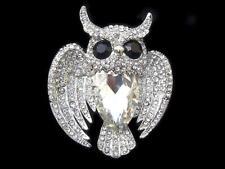 Lovely Owl Bird Clear Big Zircon Drop Rhinestone CRYSTAL Silver Tone Pin BROOCH