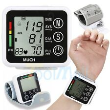 US Automatic Digital LCD Wrist Cuff Blood Pressure Pulse Monitor Sphgmomanometer
