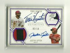 2019 Topps Definitive TORII HUNTER - JUSTIN UPTON Dual 6-Color Patch Auto 02/10