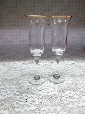 Crystal Clear Swirl Champagne Flutes * Set of 2 * Gold Rims * Made in Turkey