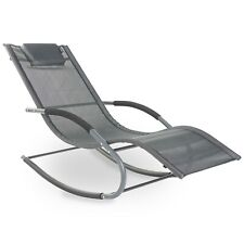 VonHaus Textoline Rocker Sun Lounger - Garden Furniture Relaxing Recliner Chair