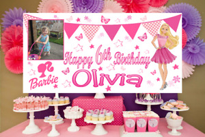 Large Personalised Barbie Birthday Poster Banner Photo Party Decorations Girls