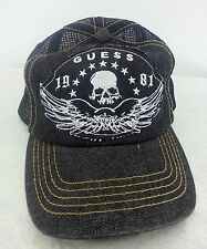 GUESS  Black 1981 Skull Wings Baseball Mesh Cap Hat Biker Rock Logo One Size