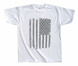 US Stars and Stripes Flag Distressed Print Men's Urban, Cool Swag t shirt, white
