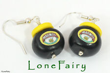 Polymer Clay Marmite Silver Plated Earrings kitsch Nutella Bovril Food Jewellery