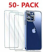 50 Pack For iPhone X/XS/XR 11 12 Pro Max Premium Tempered Glass Screen Protector