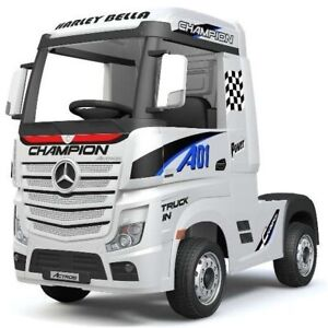 Mercedes-Benz Actros Race Truck, 12V Electric Ride On Toy - White - Pre-Order ET