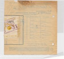 COA BEER DUTY 1920 7/- buff 4 Gallons Bottled used attached to breweries receipt