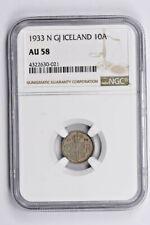 1933 N GJ Iceland 10 Aurar NGC AU 58 Witter Coin