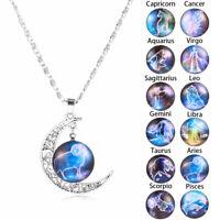 12 Sternzeichen Glaskuppel Crescent Moon Halskette Modeschmuck für Frauen