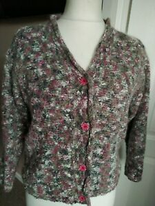 Gorgeous Mohair Knit Cardigan Pink Speckled Long Sleeve Size 12/ 14