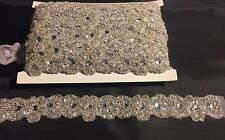 2 Inch Wedding-bridal-Beaded Trim With Rhinestones And Beads- Sold By 2 Yards.