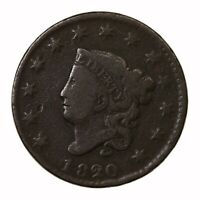 Raw 1820 Coronet Head 1C Uncertified US Mint Copper Large Cent Coin