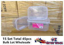 15Sets Clear Plastic Food Container with Lid 3 Sizes Bulk Lot Wholesale L508/3