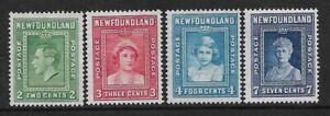 NEWFOUNDLAND - 1938 - ROYAL FAMILY SET OF 4 - MM- SG 268/271- CAT £10