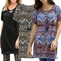 UK Size 8 up to plus Size 30 Ladies Tunic Dress in Blue, Brown or Black