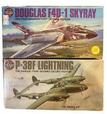 Vintage 1976 Airfix Douglas Skyray And P38F Famous Lightnin Model Kit Puzzle Lot
