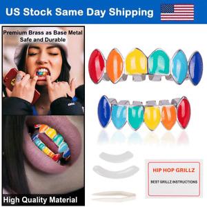 Custom Grillz 18k Silver Grillzs Rainbow Colorful Hip Hop Dent Grillz Fangs Set