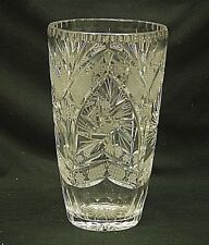 Elegant Lead Crystal Vase w Arched Pinwheel Designs Crimped Edges Unknown Maker