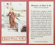 Santino Holy Card: Santa Prisca V. e M. - Patrona di San Sperate