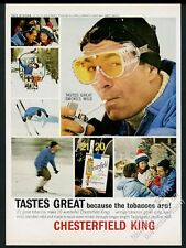 1963 Stratton Vermont ski area skier skiing photo Chesterfield cigarettes ad