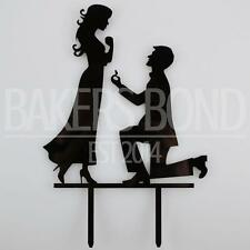 Engagement Proposal Bride & Groom Acrylic Wedding Day Cake Topper Silhouette