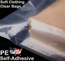 Soft 10 Bags Clothing Clear T-Shirt Self-Seal Adhesive Lip Tape PE Plastic Bag