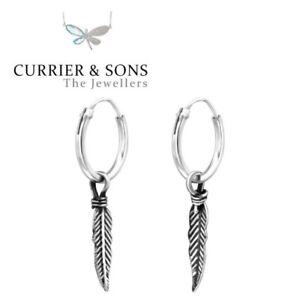 925 Sterling Silver 12mm Feather Design 2 Hoop Sleeper Earrings (Pair)