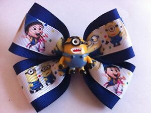 """Girls Hair Bow 4"""" Wide Minion Agnes Despicable Me Royal Ribbon French Barrette"""