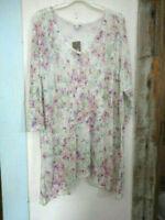 J JILL 2X Tunic Knit Sweater Linen Pansy Pastel Floral Stone Gorgeous  $99  NWT