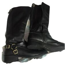 Ladys Black Leather Knee High Boot Size 4 Used